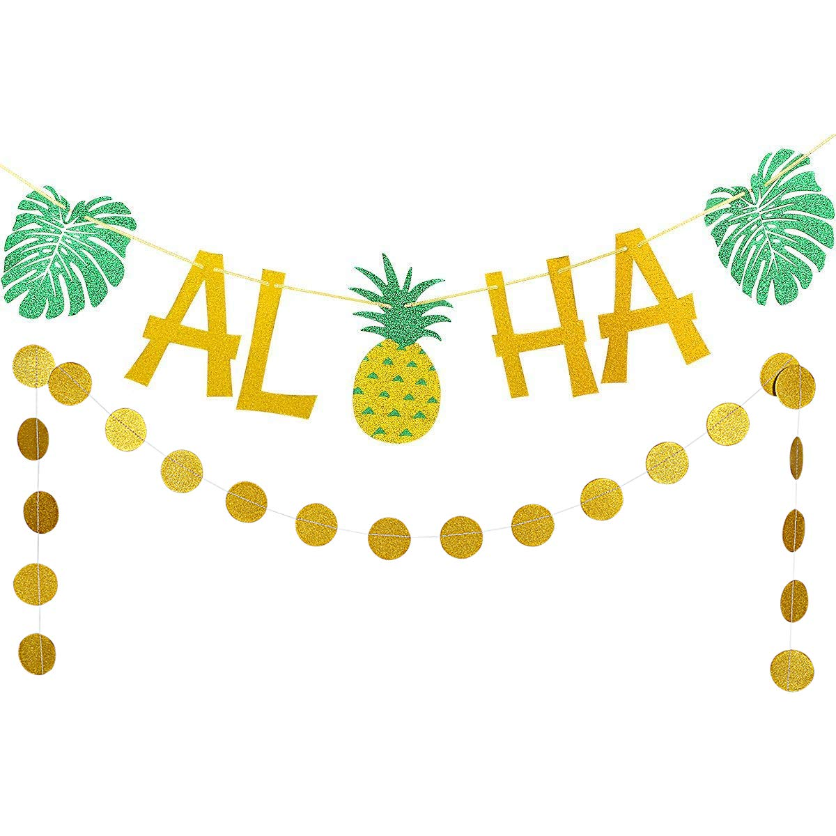 gold Glittery ALOHA Green Leaves Pineapple Garland and gold Glittery Circle Dots Garland(25pcs Circle Dots) for Hawaiian Tropical Luau Beach Summer Party Decoration Supplies