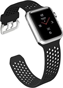 UMAXGET Compatible with Apple Watch Band Series 3 38mm 40mm 42mm 44mm, Soft Silicone Breathable Replacement Sport Band Compatible with iWatch SE Series 3/2/1/5/4 for Men Women (All Black)