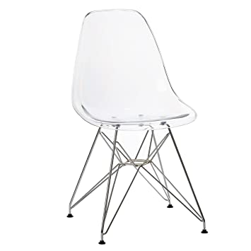 Mmilo High Quality Inspired Eiffel Dining Chairs Ghost Transparent Modern  Lounge Office Furniture (Clear)