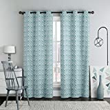 Justin Blue Top Grommet Printed Blackout Window Curtain Panels, Pair / Set of 2 Panels, 38x84 inches Each, by Royal Hotel