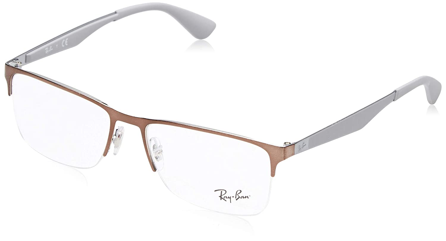 817e16e2ba Amazon.com  Ray-Ban Men s 0rx6335 No Polarization Rectangular Prescription  Eyewear Frame Black 54 mm  Clothing