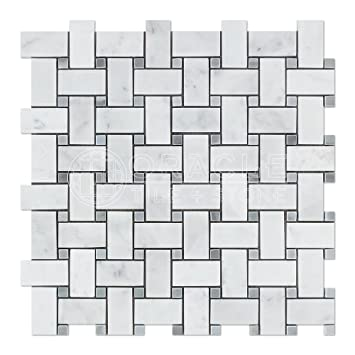 Carrara White Italian Bianco Carrara Marble Basketweave Mosaic