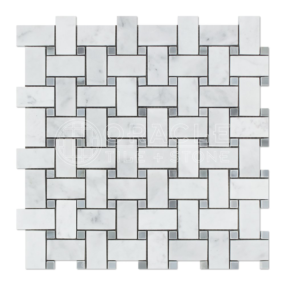 Carrara White Italian (Bianco Carrara) Marble Basketweave Mosaic Tile with Blue & Gray Marble Dots, Honed