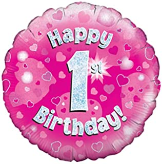 Oaktree UK 18 Inch Happy 1st Birthday Holographic Foil Design Balloons Pink