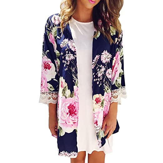 c56b4e6fb24 FEITONG Women Boho Print Chiffon Loose Shawl Kimono Cardigan Top Cover up  Blouse (S,