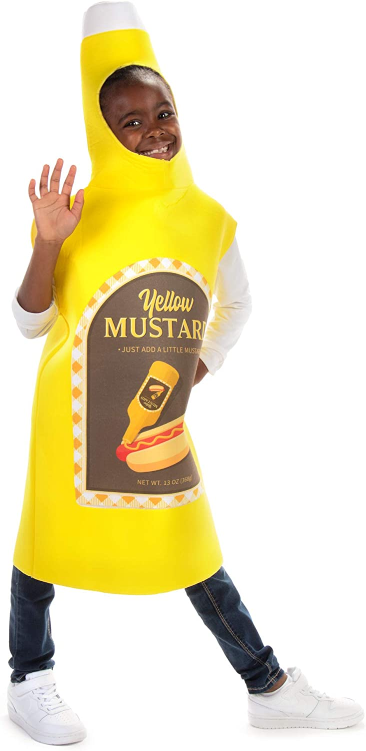 Classic Mustard Bottle Childrens Halloween Costume - Fun Food Kids Outfit