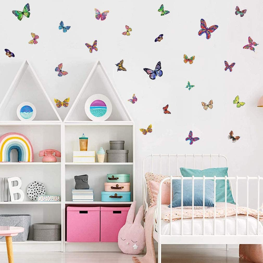 IARTTOP Colorful Butterfly Wall Decal, Flying Sticker Garden Decorative Wall Art, Watercolor Love Decals for Nursery Girl Bedroom Decoration