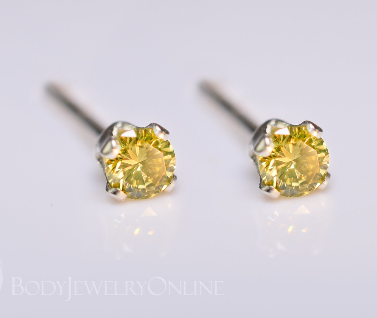 Genuine CANARY YELLOW DIAMOND Earring Studs 2mm 0.08tcw Post 14k Solid Gold (Yellow, Rose or White), Platinum, Silver Lobe Cartilage Helix Tragus