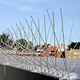 STAINLESS STEEL BIRD SPIKES - Durable Pigeon Repellent - Great Deterrent for Birds, Crows And Woodpeckers - Easy Setup And Removal - Keeps Pests Under Control - Covers 10 FT