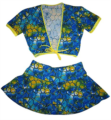 Flair Mini Skirt - Plus Size Flair Mini Skirt w Tie Front crop top set (12X, Blue Tortoise / Yellow)