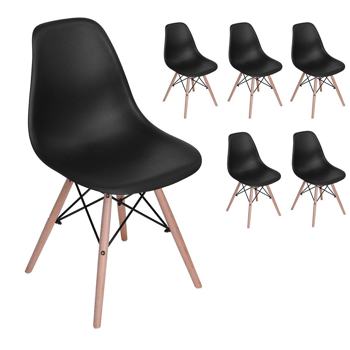 6er schwarz wohnzimmerstuhl esszimmerstuhl b rostuhl for Designer esszimmerstuhl
