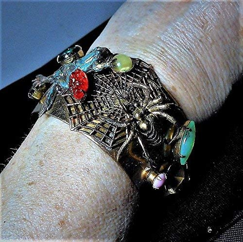 Cat & Mouse Bracelet, NO, FROG and SPIDER Cuff, Vintage Magnificent Spider Web and Frogs Jeweled Cuff Bracelet. Very 3-D w/Raised Jewels]()