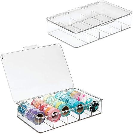 mDesign Organizador de manualidades – Fantástica caja de plástico con 5 compartimentos – Ideal para guardar goma eva, abalorios, cintas decorativas, etc. – Transparente - Paquete de 2: Amazon.es: Hogar