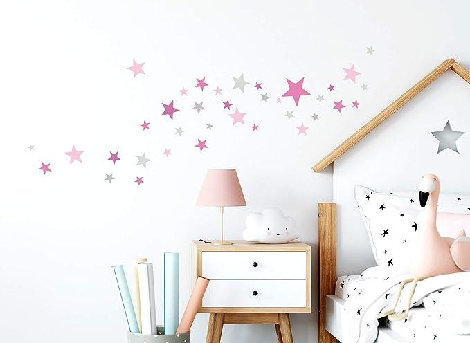 Little Deco Wandaufkleber 60 Sterne Kinderzimmer M/ädchen Stars I rosa grau I Wandtattoo Schlafzimmer Wandsticker Set bunt selbstklebend DL404
