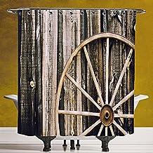 Funky Shower Curtain 3.0 by SCOCICI [ Barn Wood Wagon Wheel,Wooden Barn Door and Vintage Rusty Wheel Rustic Home Farm Decorative,Black Light Brown ] Polyester Fabric Bath Decorative Curtain Ideas