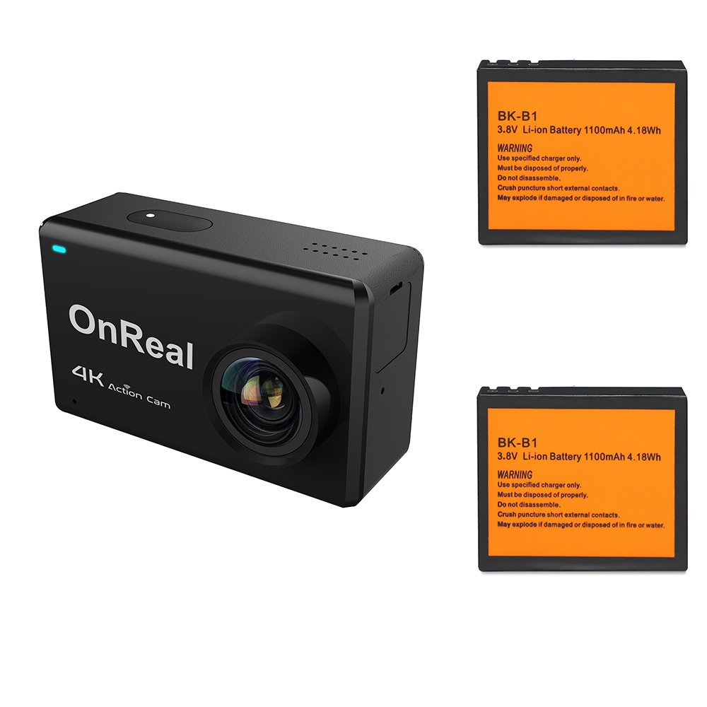 OnReal 4K Action Camera 2.45 inch Touch Screen WiFi Camera Underwater Camera 170 Degree View Angle and with Two Batteries