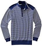 Bobby Jones Men's Pima Stripe 1/4 Zip Pullover Golf Jacket, Summer Navy, Large