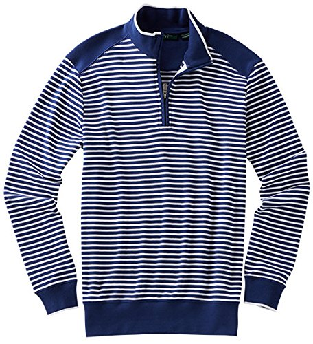 Bobby Jones Men's Pima Stripe 1/4 Zip Pullover Golf Jacket, Summer Navy, Small by Bobby Jones