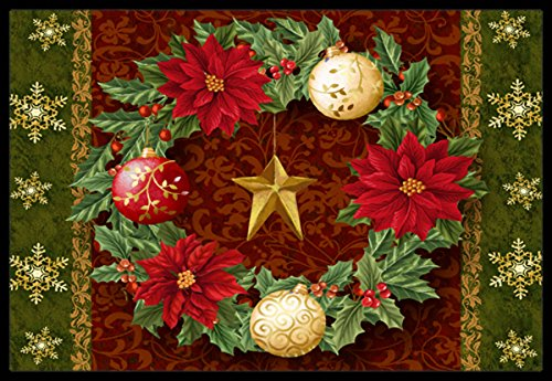 Carolines Treasures PTW2007MAT Holly Wreath with Christmas Ornaments Indoor or Outdoor Mat 18x27 18H X 27W Multicolor