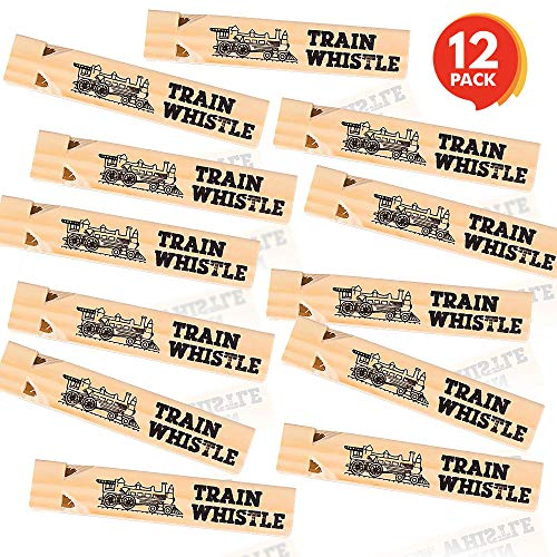 ArtCreativity Wooden Train Whistle Set - Pack of 12-7 Inch Toy Wood Whistles - Fun Train Birthday Party Supplies, Cool Favors, Conductor Prop, Contest or Carnival Prize, Gift Idea for Boys and Girls