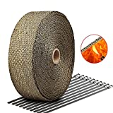 Exhaust Wrap LIBERRWAY 2''x50Ft Exhaust Heat Wrap Tap Header Glassfiber Wrap Kit for Car Motorcycle with 10 Stainless Ties