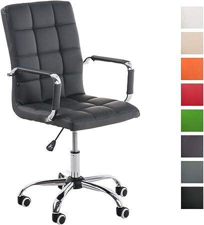 CLP Bürostuhl Deli V2 mit Kunstlederbezug und hochwertiger Polsterung I Drehstuhl mit höhenverstellbarer Sitzhöhe, Farbe:grau