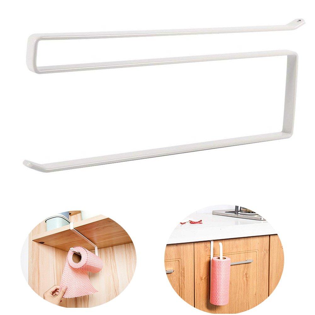 Paper Towel Holder - Delaman Under Cabinet Paper Roll Holder, Towel Hanging, White, without Drilling, Kitchen, Bathroom by Delaman