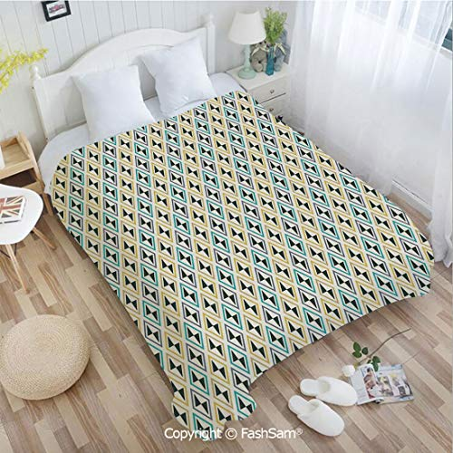 PUTIEN Super Soft Blankets for Couch Bed Birthday Funky Unusual Striking Diamond Line Motifs Skewed Triangular Shapes Perfect for Couch Sofa or Bed(49Wx59L)