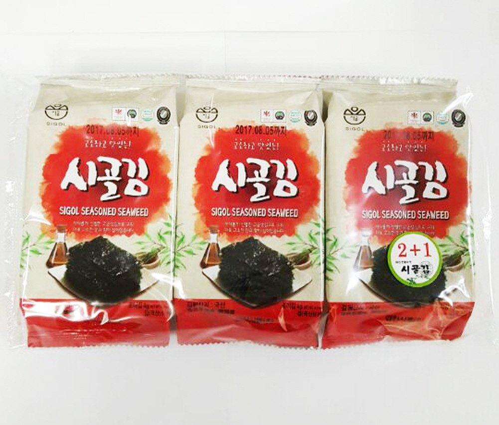 [Kyungcheon Food] SiGol Seaweed Premium Natural Roasted Seaweed Snack 4.2g 0.14oz(8sheet)-(Pack of 24)
