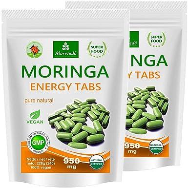 Moringa 500 Energía Tabs 950mg, 100% naturales, non cápsulas (2x250 tabletas)