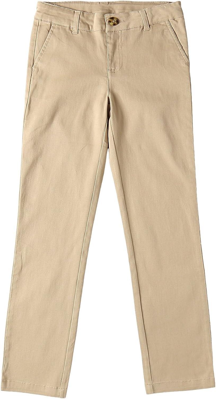 Bienzoe Big Girl's School Uniforms Cotton Stretchy Slim Adjustable Waist Pants: Clothing