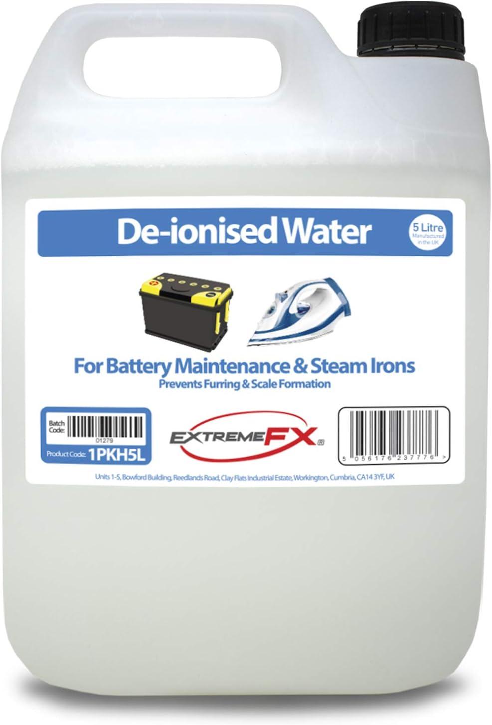 Agua desionizada 5 litros – Recarga de agua mineralizada – Agua demi – Adecuado para mantenimiento de baterías, planchas de vapor, radiadores de coche, fuentes, etc.: Amazon.es: Coche y moto