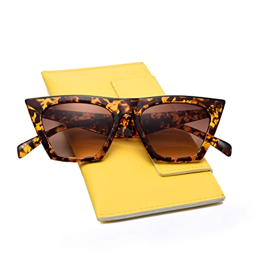 5bab3a2587 Mosanana Retro Vintage Square Cateye Sunglasses for Women Small Chic  Tortoise Demi Havanna Mod Sharp Pointed