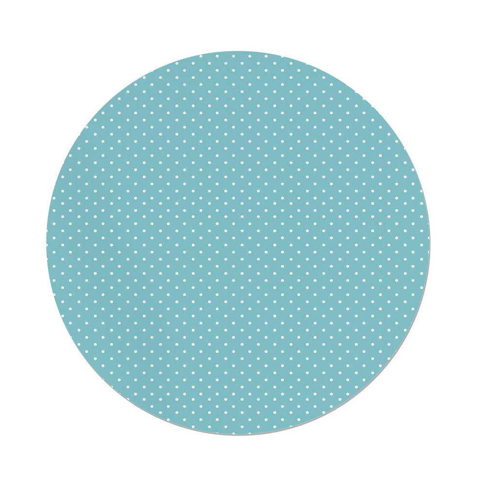 iPrint Polyester Round Tablecloth,Light Blue,Classic Polka Dots Vintage Design Stylish Cottage Country Home Decorations,Light Blue White,Dining Room Kitchen Picnic Table Cloth Cover Outdoor Indoor