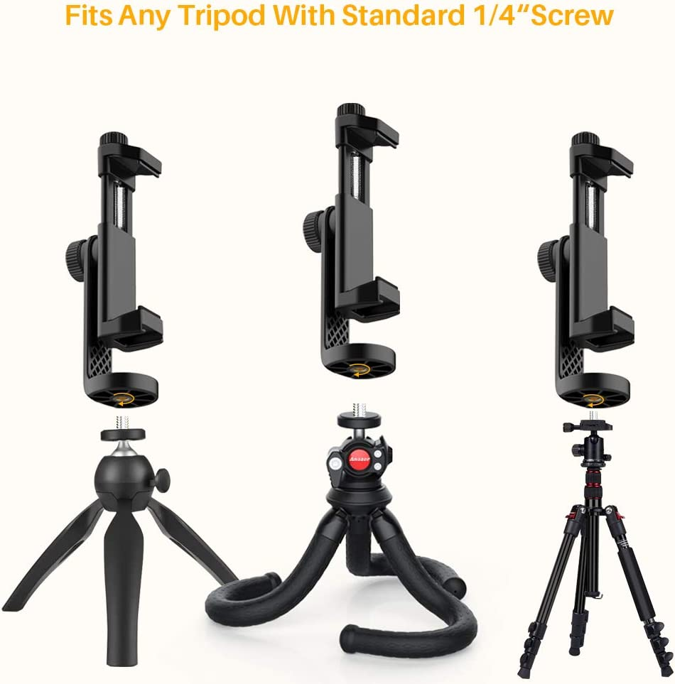 Monopod /& Selfie Stick Compatible with iPhone fits Tripod Anozer Universal Smartphone Tripod Mount with Cold Shoe Samsung /& All Phones Cell Phone Tripod Mount Adapter 360/°Rotatable Phone Holder