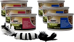 Purina Pro Plan True Nature Natural Canned Wet Cat Food Entree 2 Flavor 6 Can with Catnip Toy Sampler Bundle, 3 Each: Salmon Catfish, Oceanfish Trout (3 Ounces)