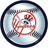 """""""New York Yankees Major League Baseball Collection"""" 9"""" Round, Party Plates"""