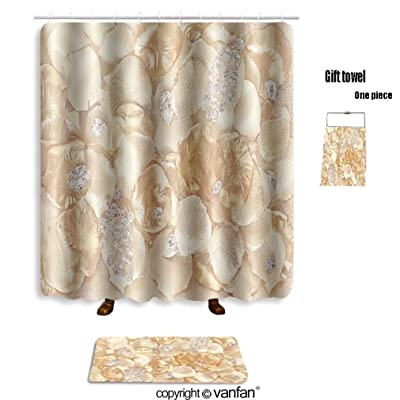 Vanfan Bath Sets With Polyester Rugs And Shower Curtain Jewelry Background Crystals On Gold Petals 55 Curtains Bathroom 72 X 88 Inches315