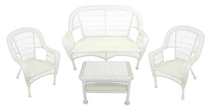 LB International 4 Piece White Resin Wicker Patio Furniture Set   Loveseat,  2 Chairs