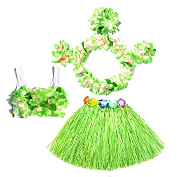 Kind Mädchen Hawaii Hula Baströckchen Stirnband Armband Fanc Tanz Kleid Rock