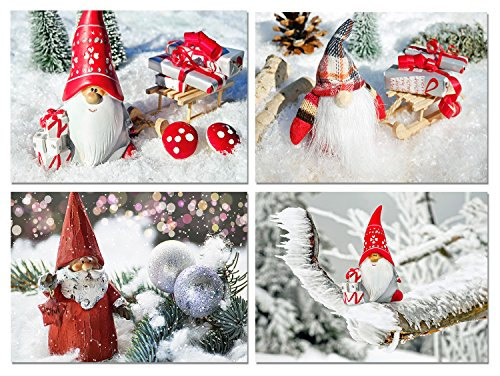 Christmas Gnomes Blank Note Cards - Holiday Greeting Cards with Envelopes - 4 Unique Designs - 5.5