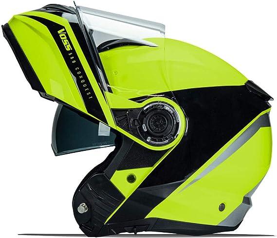 580 Conquest Modular helmet with Integrated Sun Lens communication ready Pinlock 70 anti-fog included. DOT/ECE. High-Viz Green Fluid - X-Large