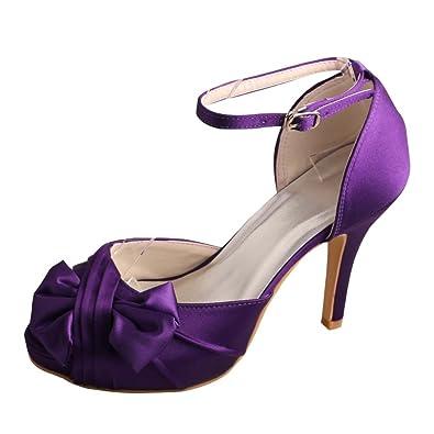 Wedopus MW411 Women s Bowtie Buckle Strap Satin Party Sandals Round Toe High  Heel Purple Wedding Bridesmaid 4b534433d1ee