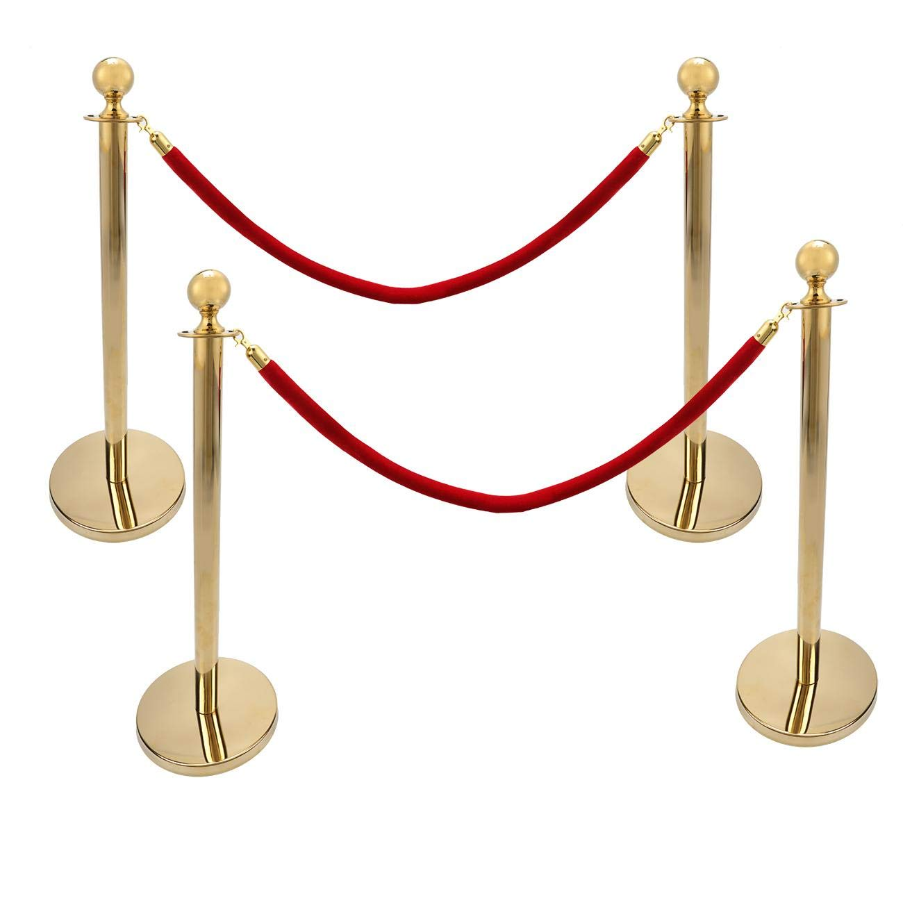 Dyna-Living 4PCS Gold Stainless Steel Stanchion Post Queue Round Top Plished Stanchion Post Set with Velvet Rope Stanchion 38In Crowd Control Barrier Queue Line by Dyna-Living
