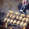 AIGMM Portable Stainless Steel BBQ Barbecue Grilling Basket for Fish ,Vegetables , Steak ,Shrimp, Chops and Many Other Food .Great and Useful BBQ Tool.