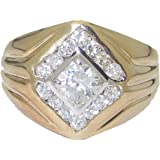 YourJewelleryBox R079 MANS SOLITAIRE PINKY SIMULATED DIAMONDS MENS RING SIGNET PINKY 14CARAT
