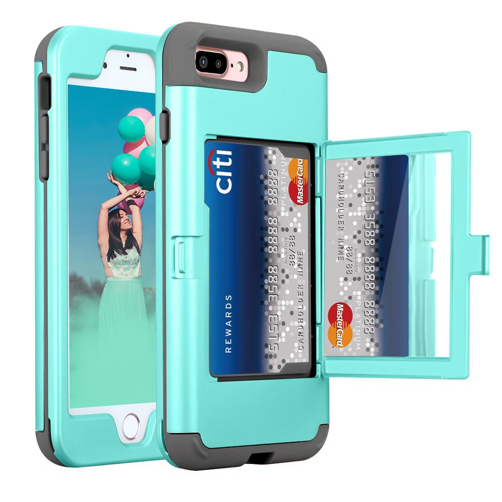 iPhone 8 Plus Wallet Case, ZAOX Heavy Duty Full Body Protection Mirror Wallet Design with Card Holder Dual Layer TPU Shockproof Kickstand Case Cover for iPhone 7 Plus/8 Plus (Mint Green) by ZAOX