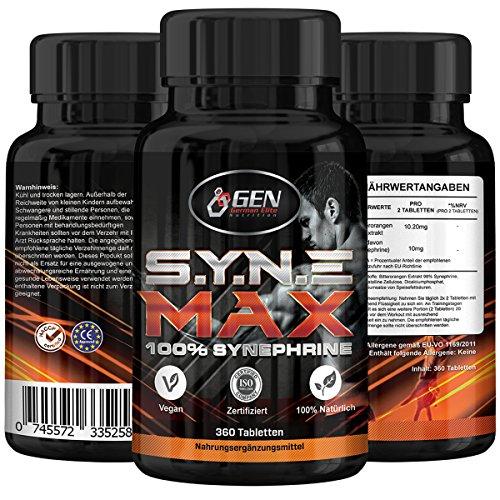 S.Y.N.E Max, 360 Tabletten mit 100% Synephrin, Bitterorangen Extrakt Citrus Aurantium, Die legale Fatburner Alternative zu Ephedrin, Leichte Einnahme 6mm grosse vegane Tabletten