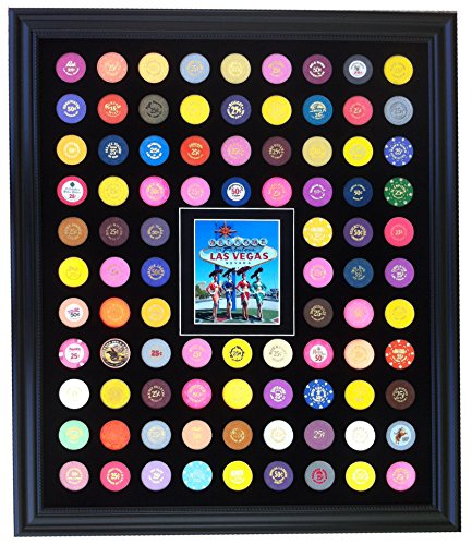 Tiny Treasures, LLC. Black Casino Chip Display Frame with Showgirls at Las Vegas Sign Photo for 90 Poker Chips (not included)
