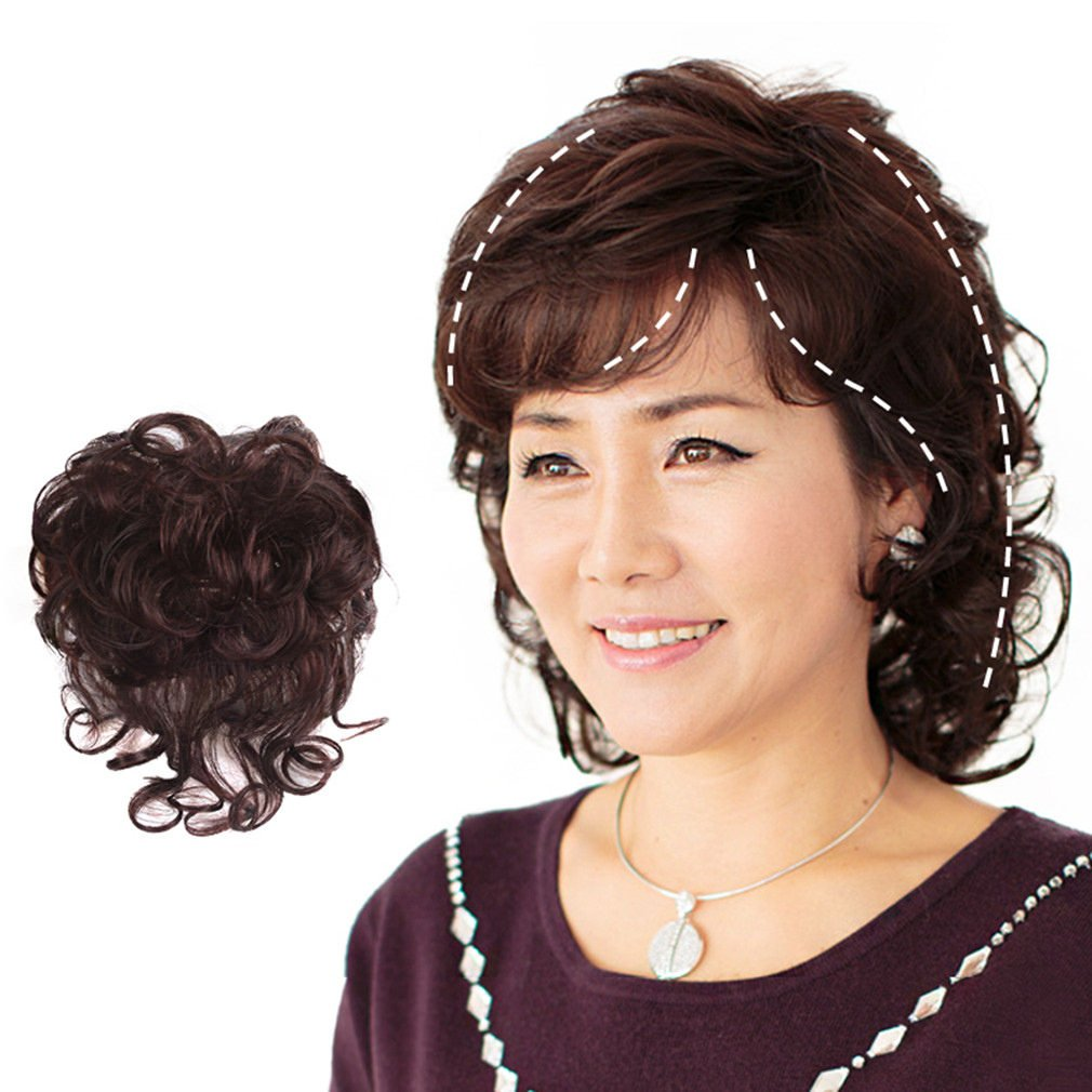 Moreal 10 Curly Human Hair Clip in Crown Topper Top Piece for Women Hair Loss Dark Brown